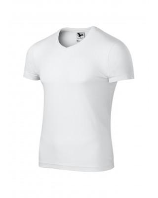 Koszulka męska 100% bawełna t-shirt SLIM FIT V-NECK 146 kolor biały
