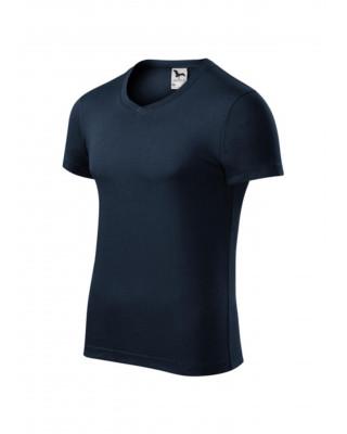 Koszulka męska 100% bawełna t-shirt SLIM FIT V-NECK 146 kolor granat