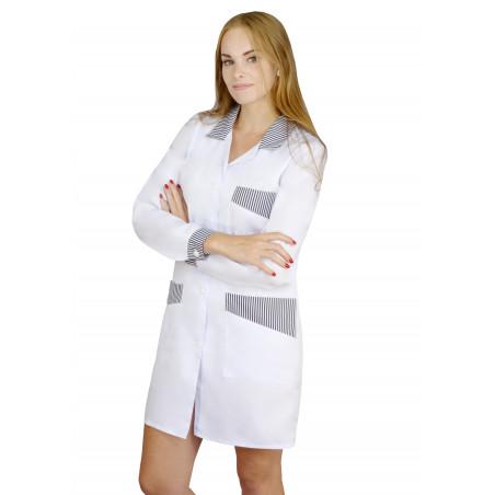 Fartuch medyczny damski ochronny z długim rękawem M-060