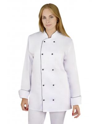 M-314 Bluza kucharska damska biała dwurzędowa na guziki fartuch kucharski