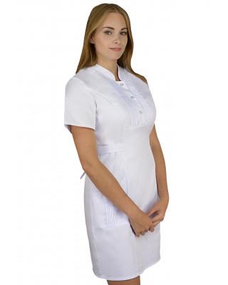 M-343 Fartuch damski sukienka medyczna kosmetyczna kolor biały