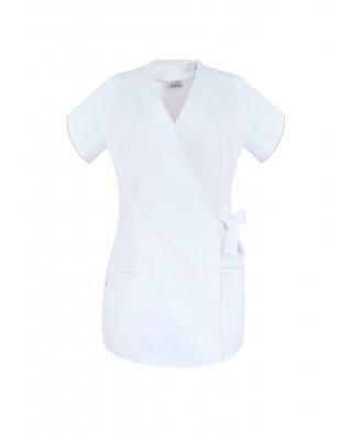 M-322 Żakiet damski wiązany medyczny kosmetyczny fryzjerski SPA uniform kolor biały