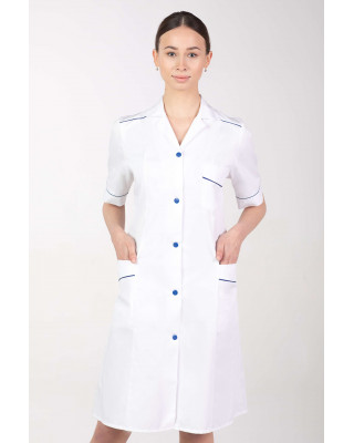Fartuch medyczny na guziki długi damski biały M-220