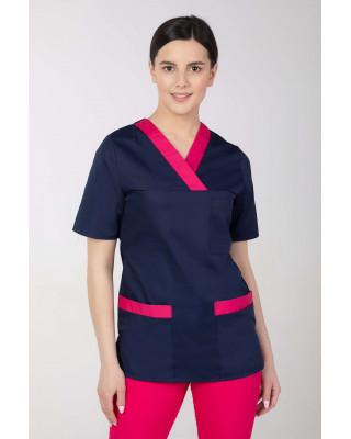 Bluza medyczna kosmetyczna damska granat z amarantem M-074P