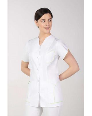 Żakiet medyczny kosmetyczny biały z limonką M-310