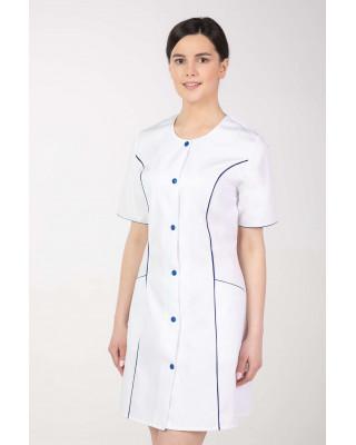 Fartuch medyczny damski biały z szafirem M-172C