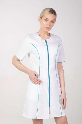 Fartuch medyczny kosmetyczny damski biały z turkusem M-173F