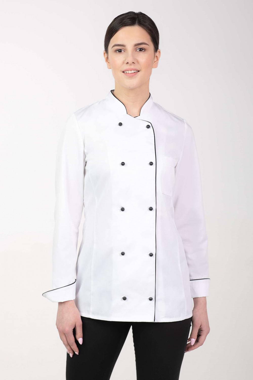 3ad7f14196207 M-314 Bluza kucharska damska biała dwurzędowa na guziki fartuch kucharski
