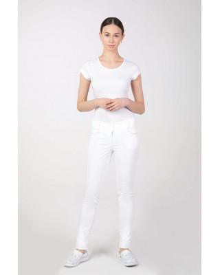 M-355 Spodnie damskie rurki medyczne do pracy kolor biały