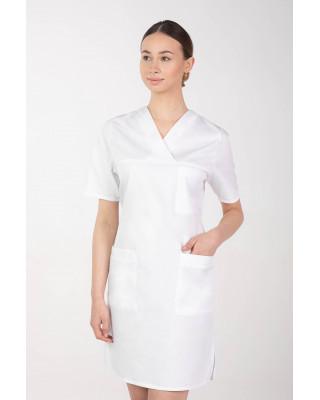 M-076FX Sukienka damska elastyczna medyczna fartuch kosmetyczny kolor biały