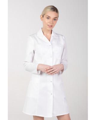 M-092T Fartuch damski medyczny laboratoryjny ochronny biały z dłygim rękawem