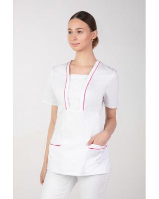 M-054X Bluza damska elastyczna medyczna kosmetyczna fartuch uniform kolor biały