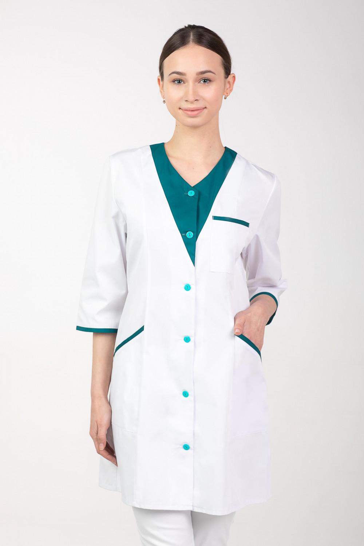 7b11e36285499 Fartuch medyczny damski ochronny M-158B - Martex Producent odzieży ...