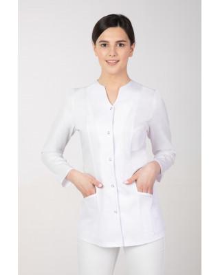 M-310B Żakiet damski medyczny kosmetyczny fartuch z długim rękawem biały