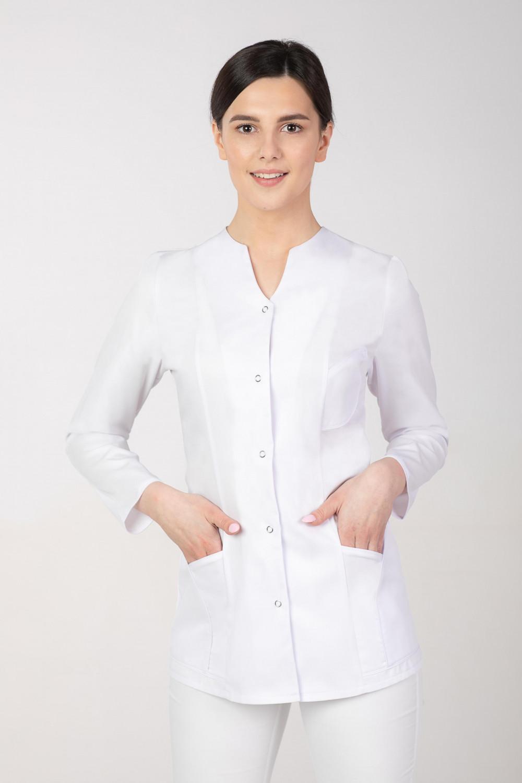 024345ea34d64b M-310B Żakiet damski medyczny kosmetyczny fartuch z długim rękawem biały