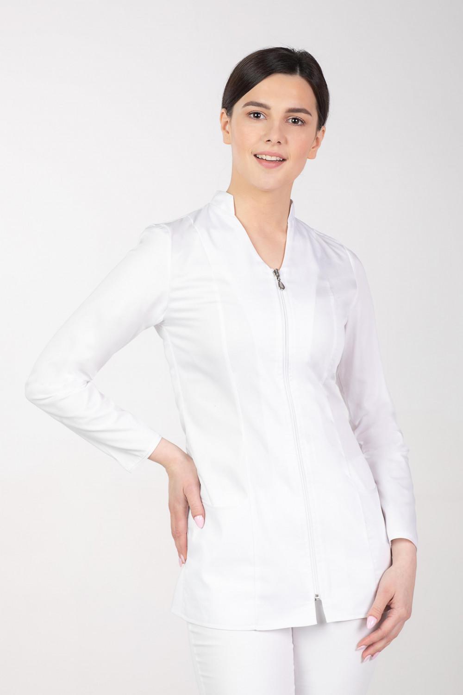 M-308A Żakiet damski kosmetyczny medyczny na stójce z suwakiem biały