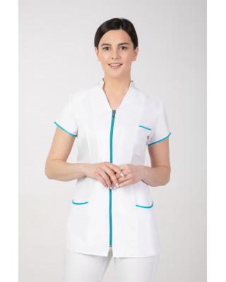 M-308 Żakiet damski na suwak ze stójką medyczny kosmetyczny fartuch kolor biały z amarantem