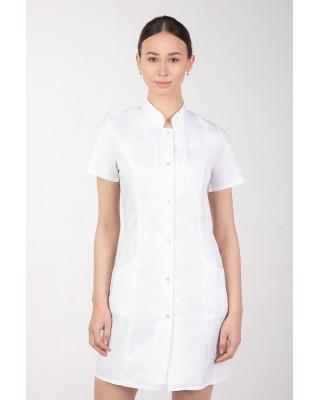 Fartuch medyczny kosmetyczny długi zapinany na napy w ozdobne plisy biały