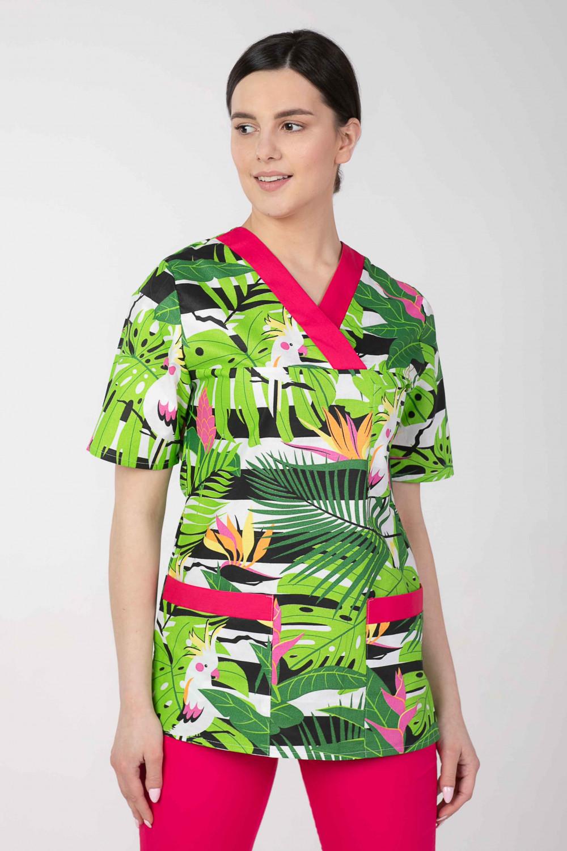 Bluza medyczna we wzorki kolorowa damska  M-074G PAPUGI I MONSTERA