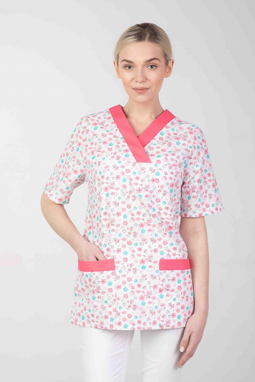 Bluza medyczna we wzorki kolorowa damska  M-074G MIĘTOWA ŁĄCZKA