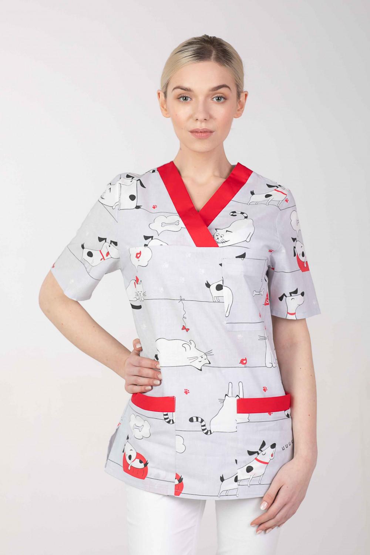 Bluza medyczna we wzorki kolorowa damska  M-074G PSY i KOTY