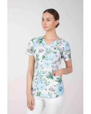 Bluza medyczna we wzorki  damska  M-376D BŁĘKITNE KWIATY