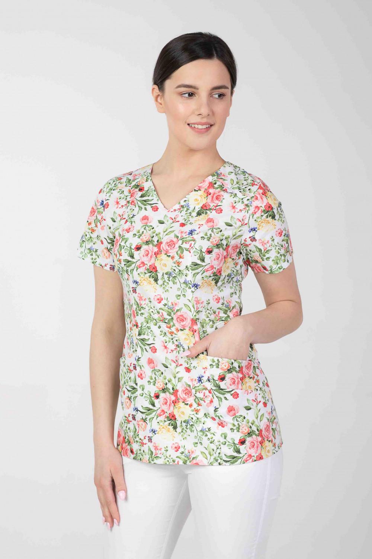 Bluza medyczna we wzorki  damska  M-376D KOLOROWE KWIATY
