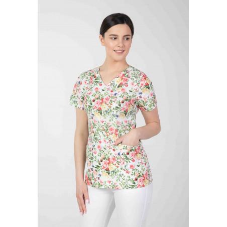 Bluza medyczna kolorowa we wzorki  damska  M-376D KOLOROWE KWIATY