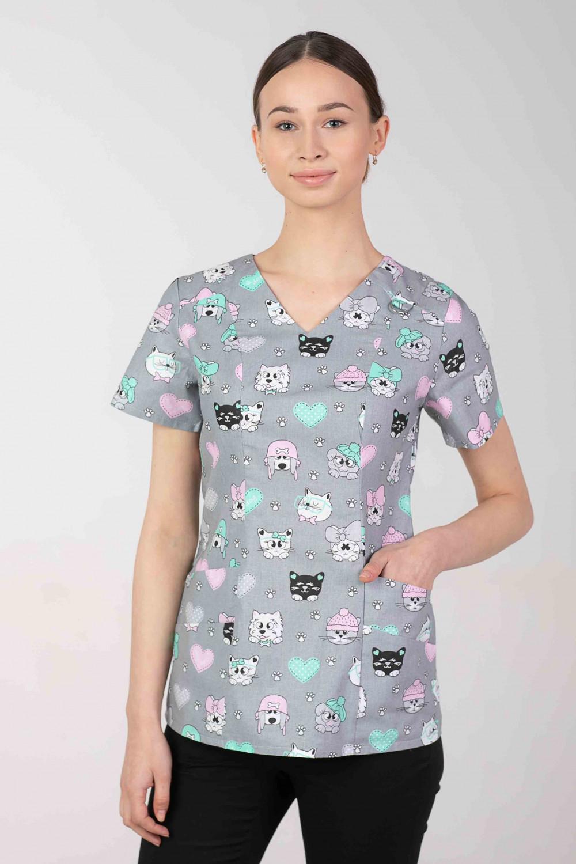 Bluza medyczna we wzorki  damska  M-376D KOLOROWE PUPILE