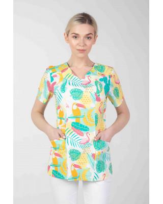 Bluza we wzorki medyczna damska  M-376D TUKANY I FLAMINGI