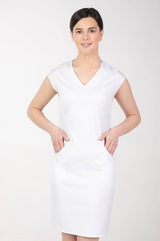 Sukienka medyczna damska elastyczna M-377X biała