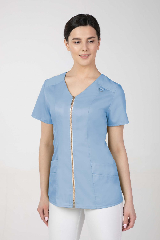 Żakiet medyczny M-379 błękit  ze złotym suwakiem