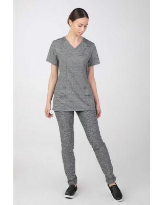 Bluza medyczna elastyczna oddychająca szary melanż  M-376A