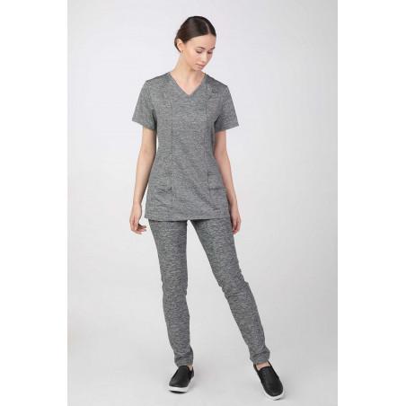 Bluza medyczna elastyczna oddychająca szary melanż  M-376M