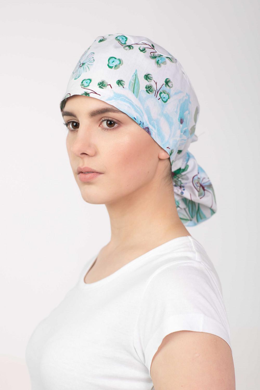 Czepek chirurgiczny Błękitne Kwiaty M-389G