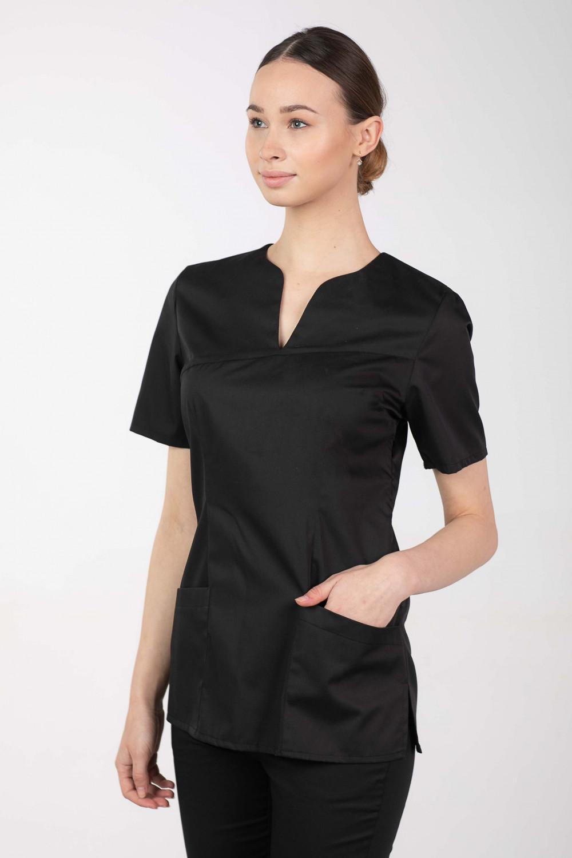 M-323 Bluza medyczna kosmetyczna damska fartuch kolor czarny