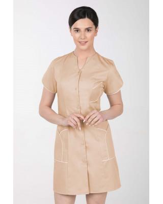 M-310C Fartuch damski medyczny kosmetyczny sukienka medyczna kolor beż