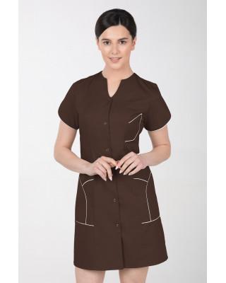 M-310C Fartuch damski medyczny kosmetyczny sukienka medyczna kolor czekolada