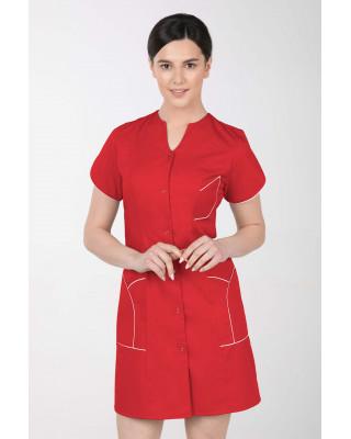 M-310C Fartuch damski medyczny kosmetyczny sukienka medyczna kolor czerwony
