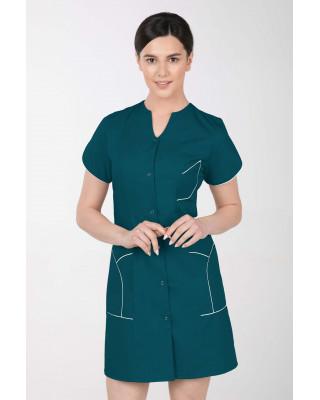 M-310C Fartuch damski medyczny kosmetyczny sukienka medyczna kolor ciemna zieleń
