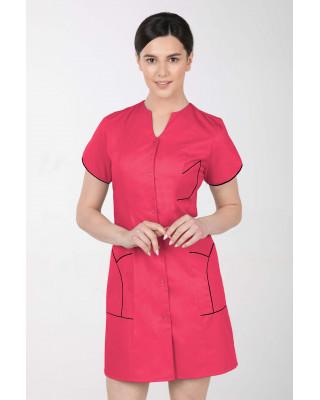 M-310C Fartuch damski medyczny kosmetyczny sukienka medyczna kolor amarant + czarny