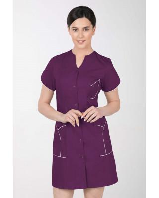 M-310C Fartuch damski medyczny kosmetyczny sukienka medyczna kolor śliwka