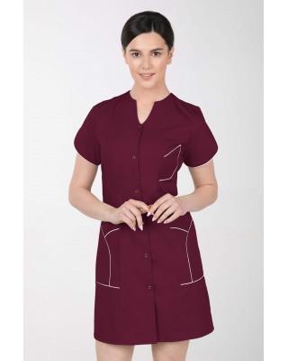 M-310C Fartuch damski medyczny kosmetyczny sukienka medyczna kolor wiśnia