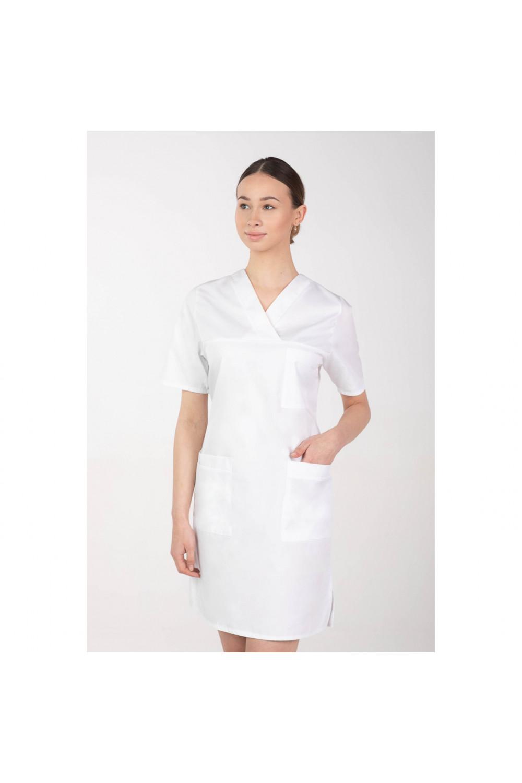 M-076F Sukienka medyczna wiązana  fartuch medyczny kolor biały