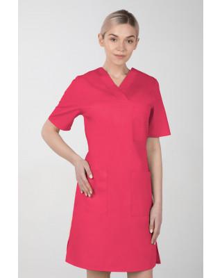 M-076F Sukienka medyczna wiązana  fartuch medyczny kolor amarant