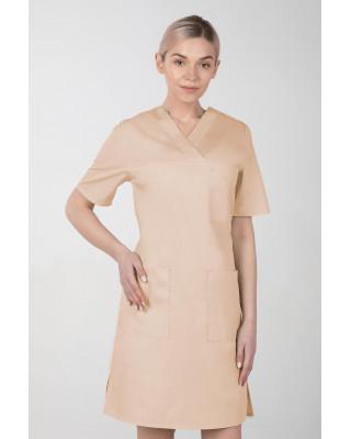 M-076F Sukienka medyczna wiązana  fartuch medyczny kolor beż