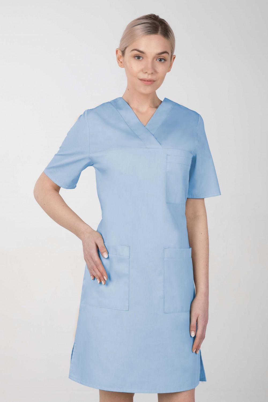 M-076F Sukienka medyczna wiązana  fartuch medyczny kolor błękit