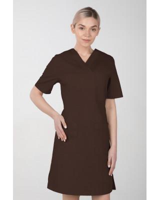 M-076F Sukienka medyczna wiązana  fartuch medyczny kolor czekolada