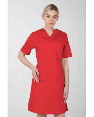 M-076F Sukienka medyczna wiązana  fartuch medyczny kolor czerwony