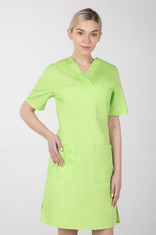 M-076F Sukienka medyczna wiązana  fartuch medyczny kolor limonka